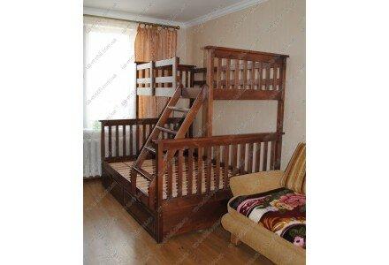 Двухъярусная деревянная кровать Олимп, трехспальная